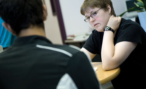 Writing instructor Jen Abel works one on one with a student at the University of Calgary Effective Writing Centre.