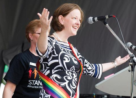 Alison Redford at Edmonton's gay pride festival.