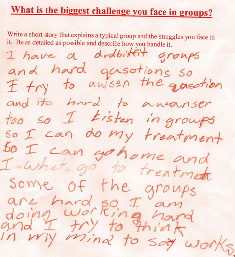 A writing sample from one of Clem Martini's theatre and writing classes for youth criminals.