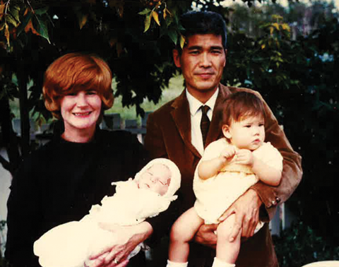 A family photo, circa 1968 (with husband Noboru, daughter Naomi and son Kenji.)
