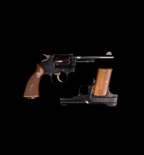 Six-shot .38 calibre Smith and Weston revolver and semi-automatic .38 calibre pistol, Alberta Provincial Police (1917-1932)