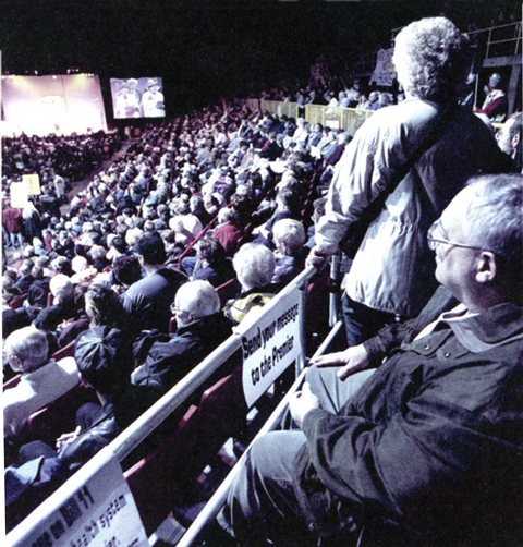 Thousands of Albertans gather in Edmonton in 2000 at a union-led rally against Bill 11 and private healthcare.