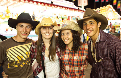 Revellers on the midway at the Calgary Stampede.