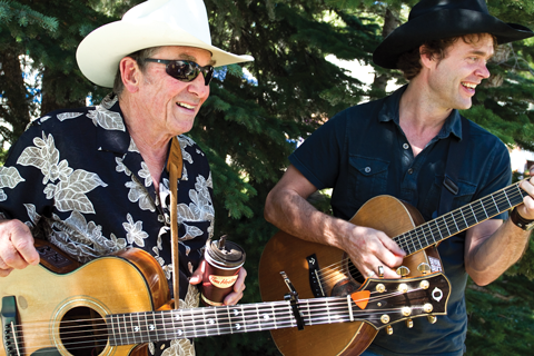 Ian Tyson with Corb Lund at the Calgary Folk Music Festival.