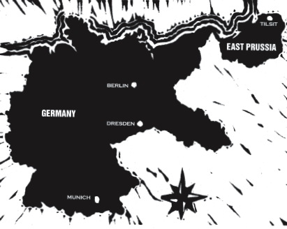 A map of Germany before the Second World War. Ernst Klaszus grew up in Tilsit, East Prussia.